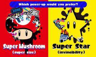 splatoon super mushroom vs super star splatfest poster